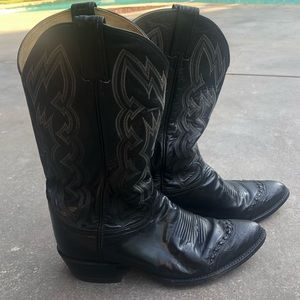 Vintage Tony Lama Black Lizard Wingtip Boots